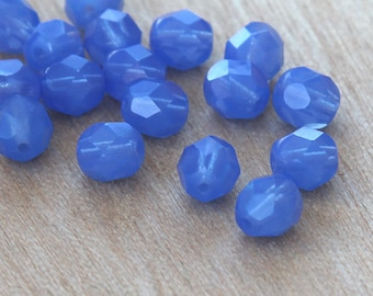 Sapphire Opal Czech Glass Beads, 6mm Faceted Round - 50 pcs - e31010-6