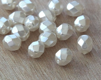 White Pearl Czech Glass Beads, 6mm Faceted Round - 50 pcs - e61001-6