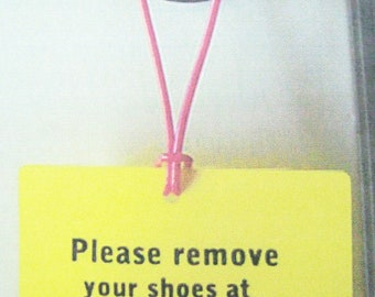 Please Remove Your Shoes door hanger tag for the home
