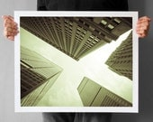 New York Skyscraper Photography - 16x20, NYC Fine Art Photography, Skyscrapers Upside-down Black and White Pastel