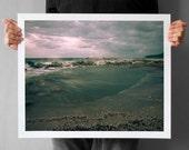 Beach Storm Photograph 16x20, Rough Sea Landscape Art, Giclee Print 16x20