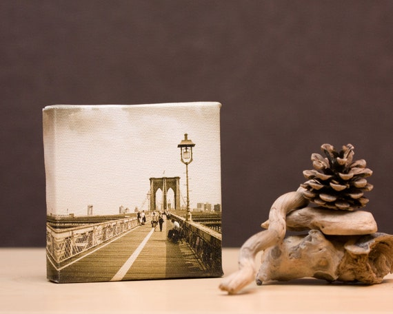 Brooklyn Bridge Canvas Art Block 4x4, Vintage Old Look, Gallery Wrap Ready to Hang, New York City, oht, french roast brown
