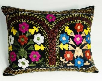 Vintage Suzani Zardevor Pillow Case, Uzbekistan Suzani Pillow Case,Sofa Couch Pillow