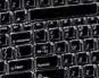 "Timeless Treasures COMPUTER KEYBOARD Black Fabric rare   18"" x 22"" Fat Quarter or Yards"