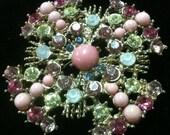 Vintage Pink and Green Rhinestone Brooch/Pin (SIS)