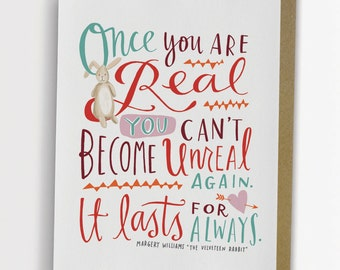 "Velveteen Rabbit ""Once You Are Real"" Quote Card 165-C"