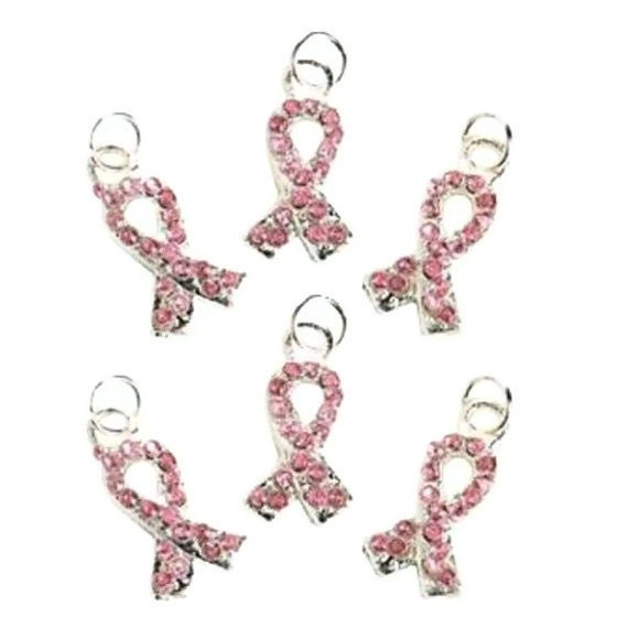 Pink Ribbon Rhinestone Charms Breast Cancer Awareness Set 8