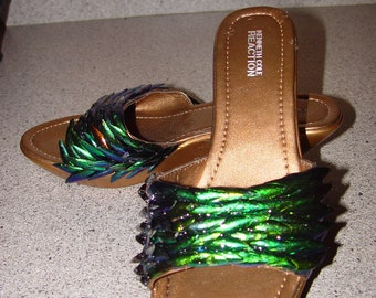 Only One Pair Available - Iridescent Dragon Scaled Peacock Jewel Wing Shoes -sz8.5-  In Stock - Ship Today