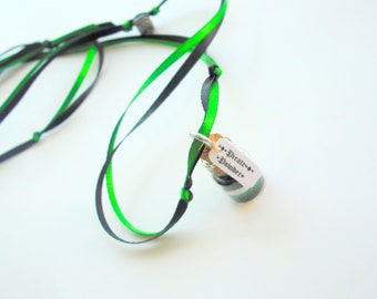 Pirate Powder Necklace, Pirates, Pirate Party Favors, Black, Green, White