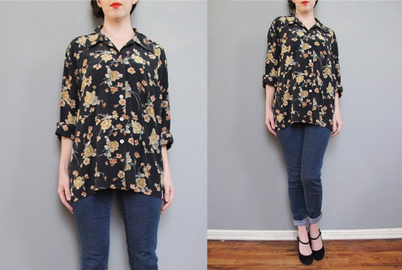 RESERVED for janeflurry vintage black floral SILK blouse // 90s goth japanese roses