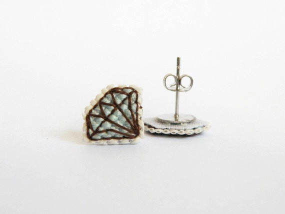 SALE: Blue diamond cross stitch earrings, aquamarine diamond, gifts for her, gifts under 30. Made to Order