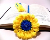 Crochet bookmark daisy yellow and blue with tassel handmade