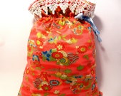 SALE Drawstring bag elegant chinese floral design-gift bag-project bag