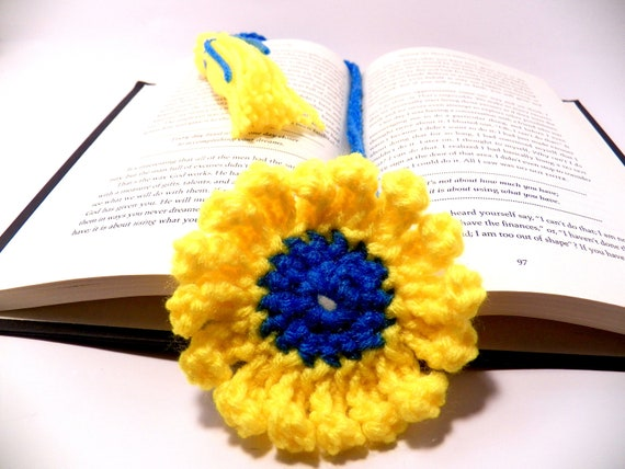Crochet bookmark daisy yellow and blue with tassel handmade