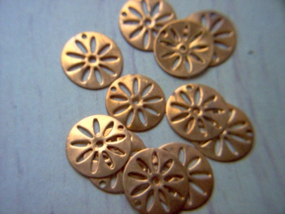 Vintage Copper Round Dangles / Finding x 12  # BBB  14