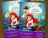 Ariel Mermaid Invitation - The Little Mermaid Printable Birthday Invitation (With or Without Custom Photo)