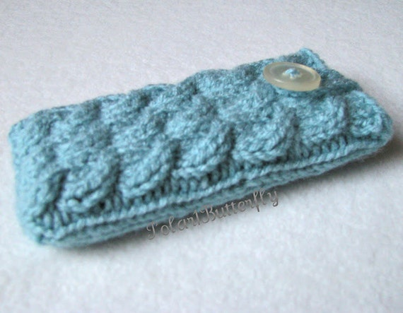 iPod case iPhone 5 sleeve HTC Droid Incredible Samsung bag Android Smartphone holder mobile BlackBerry cover, knit cables in aquamarine