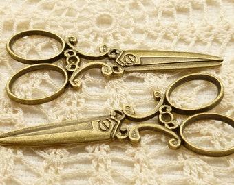Vintage look Large Scissor Charm, Pendant (4)  - A81