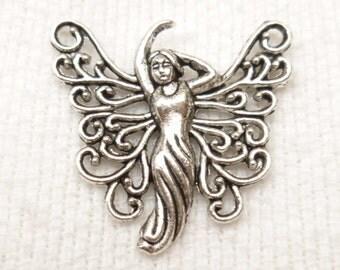 Silver Tone Dancing Fairy Charm Pendant (4) - S51