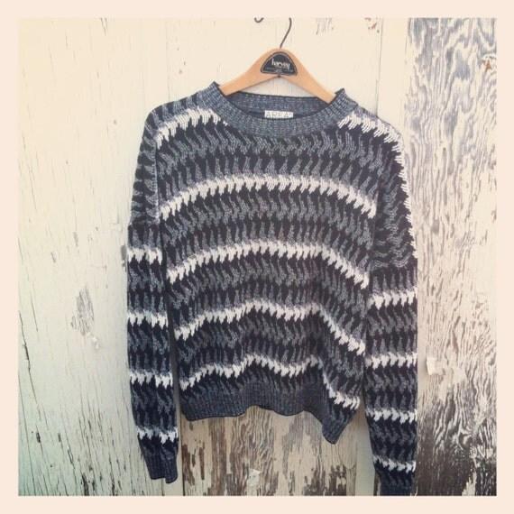 Vtg 90s Black, Grey & White Wave Striped Oversize Sweater Unisex XL