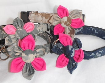 Size XS, S, M, L, XL - Military Dog Collar Flower Sets, Availlable in Navy, Marine Corps, Air Force and Army