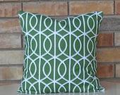 Pillows Green modern pillow geometric pillow decorative pillow Trellis chain  Dwell Studio pillow cover 18x18 inches