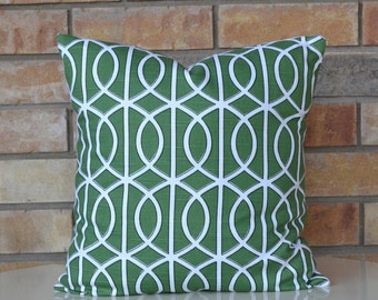 Pillows Green modern pillow geometric pillow decorative pillow Trellis chain  Dwell Studio pillow cover 18x18 inches