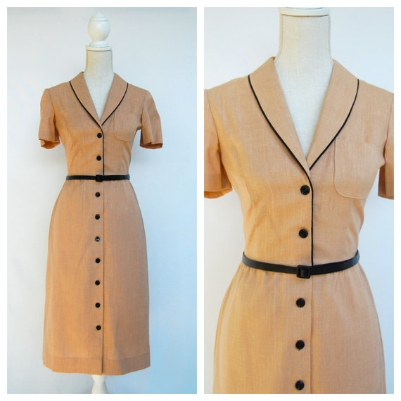 Vintage Button Up Wiggle Dress / Medium / Small / Size 6 / 50s / Beige / Black