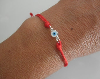 evil eye bracelet on a red string