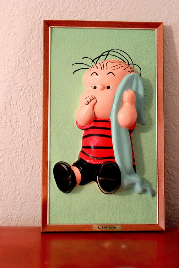 Linus from Charlie Brown vintage peanuts wall hanging 3D portrait
