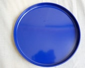70's Heller Design by Massimo Vignelli cobalt blue stacking melamine casual dinner ware salad plate, sturdy classic late mid century mod