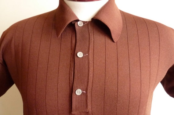 vintage 60's Crimplene ribbed knit collared short sleeve men's/unisex dark chocolate brown polo shirt, mod preppy fall autumn color
