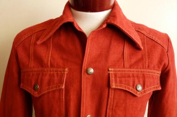 vintage 70's Mr. Leggs sportswear men's/unisex denim jacket deep rich brick/burgundy color, yellow gold contrast stitch, 2 front pockets