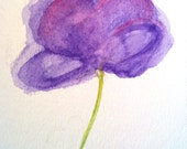 Clearance Sale: Purple Peony Water Color Painting - Original Painting