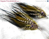 75 PERCENT OFF Long Feather Earrings -Earth dance- 12 inches long full rooster feathers natural