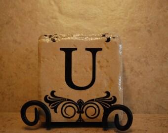 Initial U Custom Made Ceramic Tile Coasters set of 4 or more