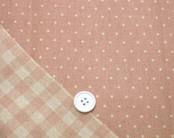 Reversible Print Checker and Dot (Light Pink) Japanese Fabric - 110cm x 50cm