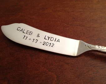 recycled silverware hand stamped cheese spreader, butter knife   Personalized wedding gift