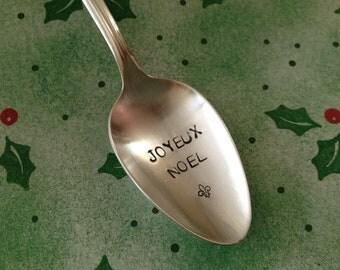 recycled  vintage silverware hand stamped tea spoon, Joyeux Noel