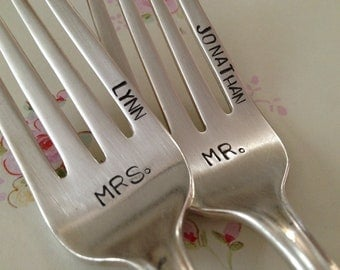 vintage silverware hand stamped pastry fork cake fork  Mr. and Mrs.