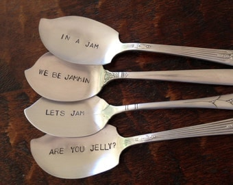 Set of 4  recycled vintage silverware hand stamped  jelly spoons