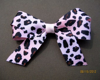 Pink and Black Leopard Print Ribbon Hair Bow- last one left being discontinued!