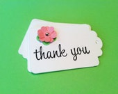 Gift Tag (set of 30) - thank you lotus blossom with hole punch