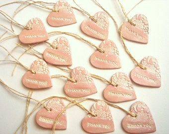 Wedding Favor, Thank you Tags,Wedding  Favor Tags,Pearly Gift Tags,Heart Tag,Ceramic Favor Tag