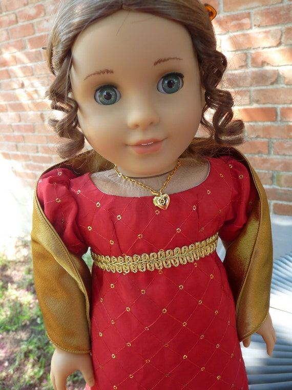 "18"" Doll Clothes Elegant Regency Gown--Autumn Colors--Fits American Girl Caroline, Marie Grace, Cecile, Josefina"