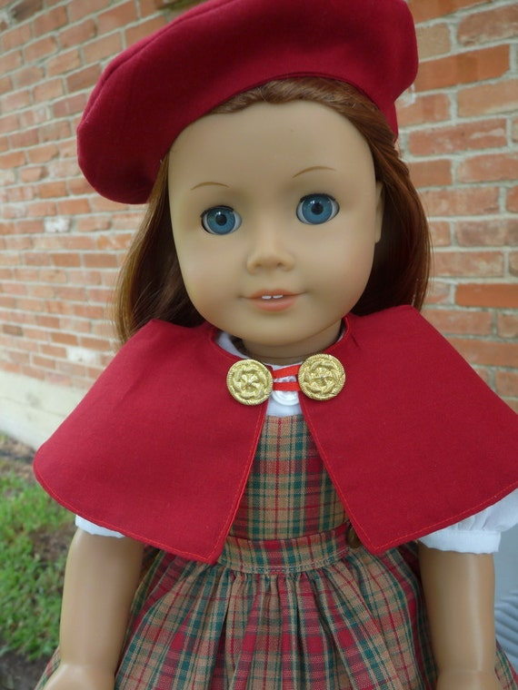 """18"""" Doll Clothes 1940's--1950's Style School Dress, Cape and Hat Fits American Girl Molly, Emily"""