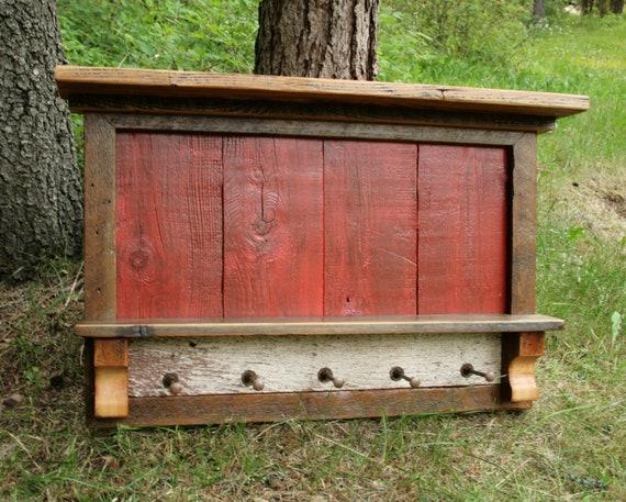 Rustic Reclaimed Barnwood Entry Shelf Coat Rack