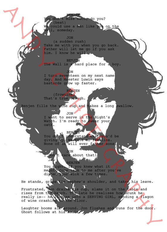 "Kit Harington as Jon Snow from ""Game Of Thrones"" (Script Photography Print A4 Size)"