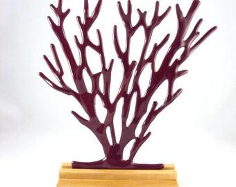 red opaque glass  'sea grass' sculpture