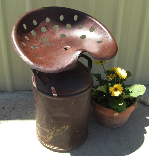 Tractor Seat Milk Can Stool All Steel Construction With